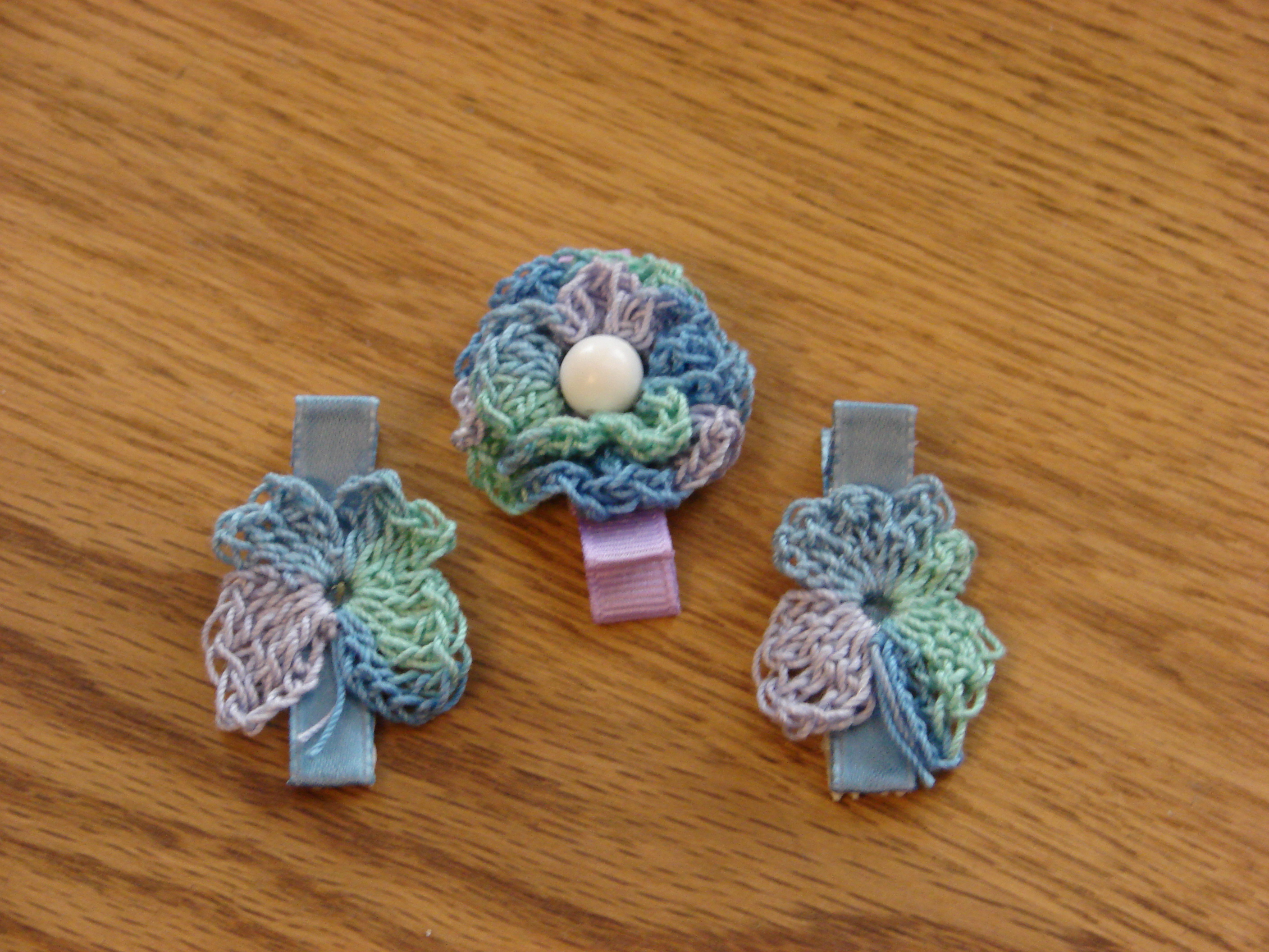 Crochet Butterfly and Flower Hair Clips and Headbands